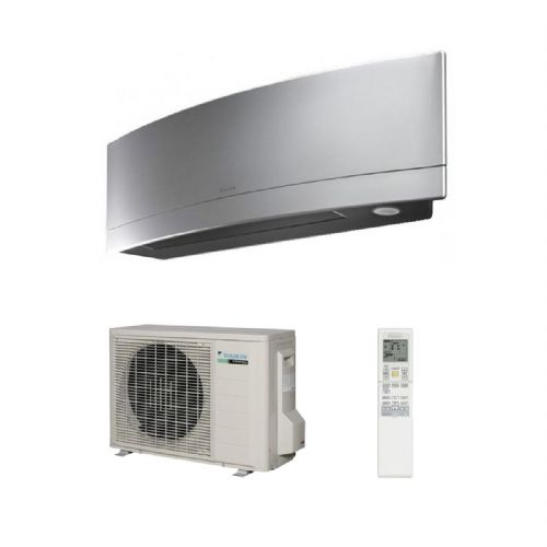 Daikin Air Conditioning Emura FTXJ25MS Brushed Alluminium Wall Mounted Inverter Heat Pump (2.5Kw/9000Btu) R32 A+++ 240V~50Hz